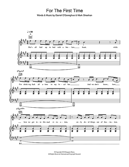 The Script For The First Time Sheet Music Notes Chords