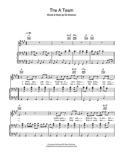 Ed Sheeran The A Team Sheet Music Notes Chords Printable Pop