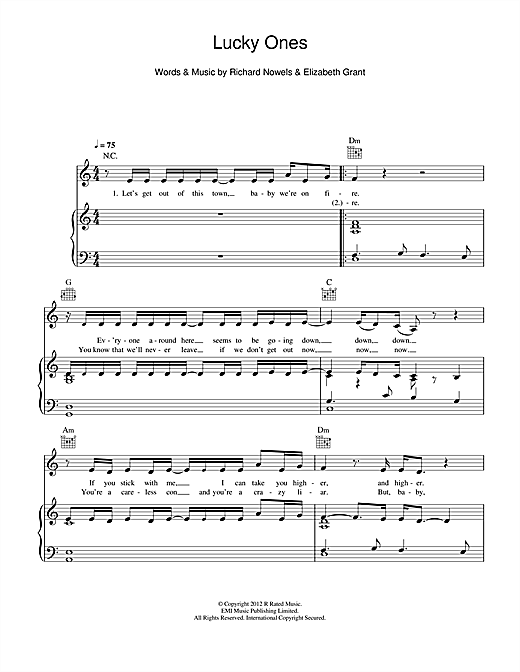 Lana Del Rey Lucky Ones Sheet Music Notes Chords Printable