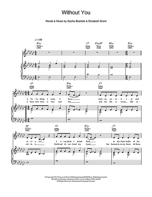Lana Del Rey Without You Sheet Music Notes Chords Printable Pop