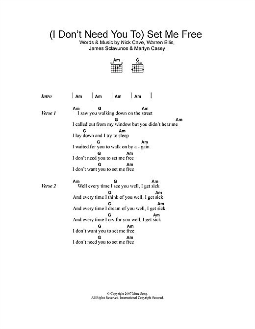 Nick Cave I Dont Need You To Set Me Free Sheet Music Notes