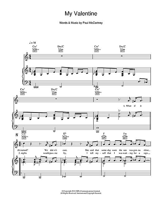 Paul Mccartney My Valentine Sheet Music Notes Chords Printable
