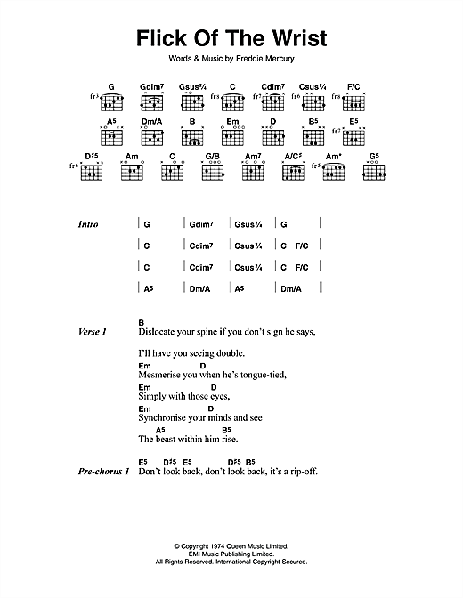 Queen Flick Of The Wrist Sheet Music Notes Chords Printable