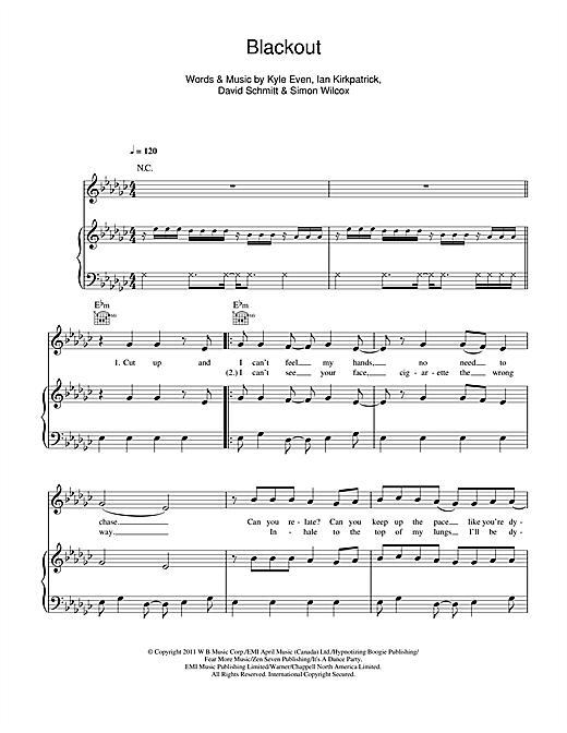 Breathe Carolina Blackout Sheet Music Notes Chords Printable