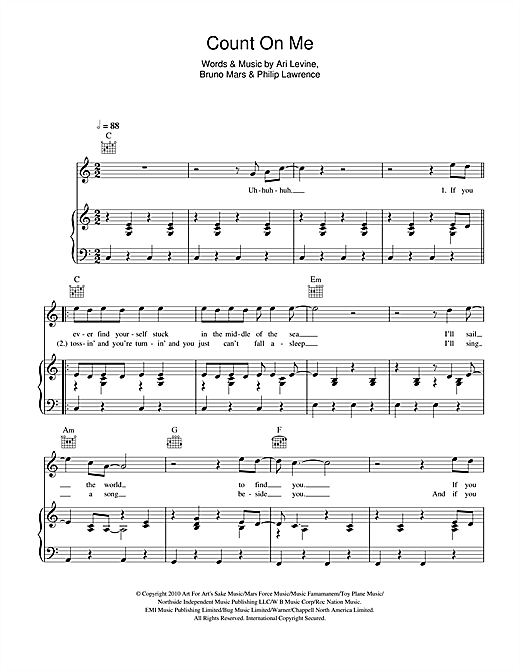 Bruno Mars Count On Me Sheet Music Notes Chords Printable Pop