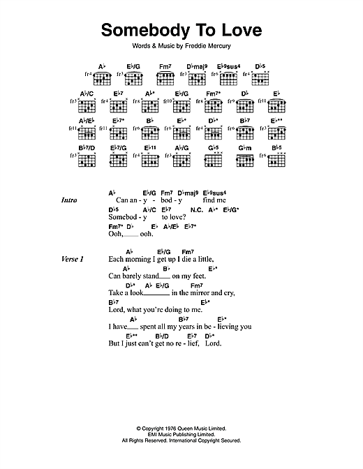 Queen Somebody To Love Sheet Music Notes Chords Printable Rock