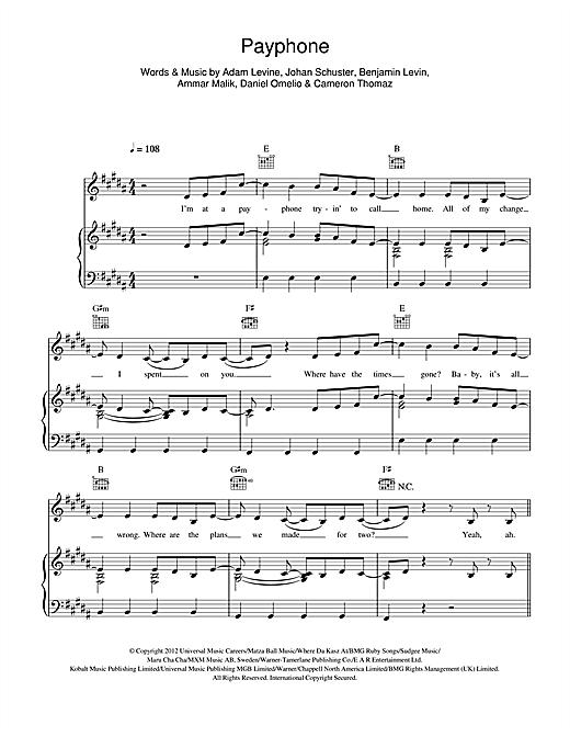 Payphone Piano Sheet Music Pdf