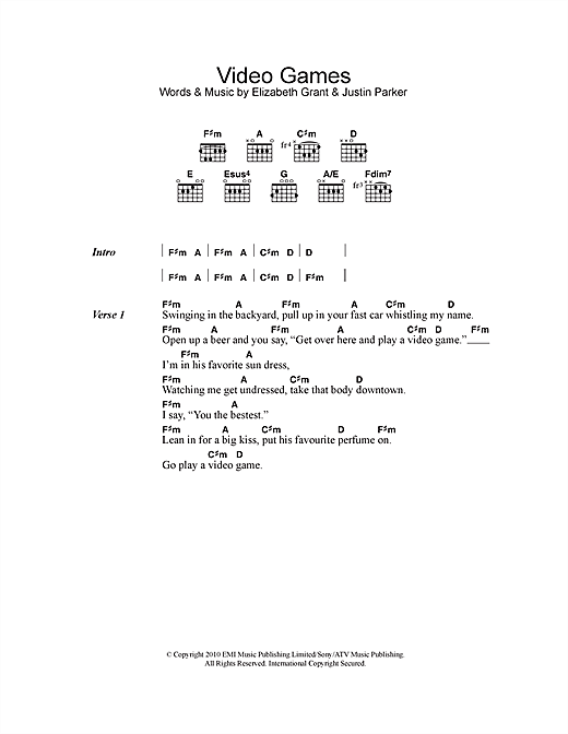 Lana Del Rey Video Games Sheet Music Notes Chords Printable Pop