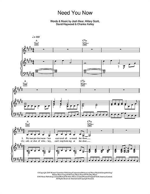 Lady Antebellum Need You Now Sheet Music Notes Chords Printable