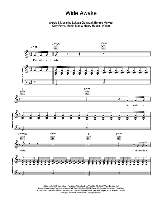 Katy Perry Wide Awake Sheet Music Notes Chords Printable Pop