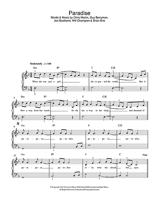 Coldplay Paradise Sheet Music Notes Chords Printable Rock
