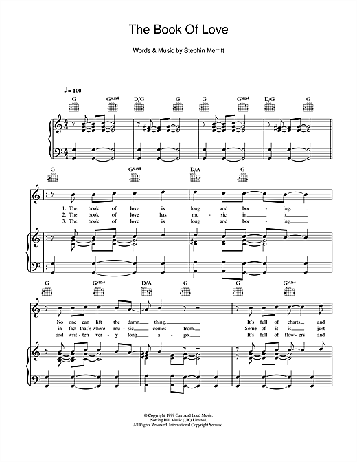 The Magnetic Fields The Book Of Love Sheet Music Notes Chords