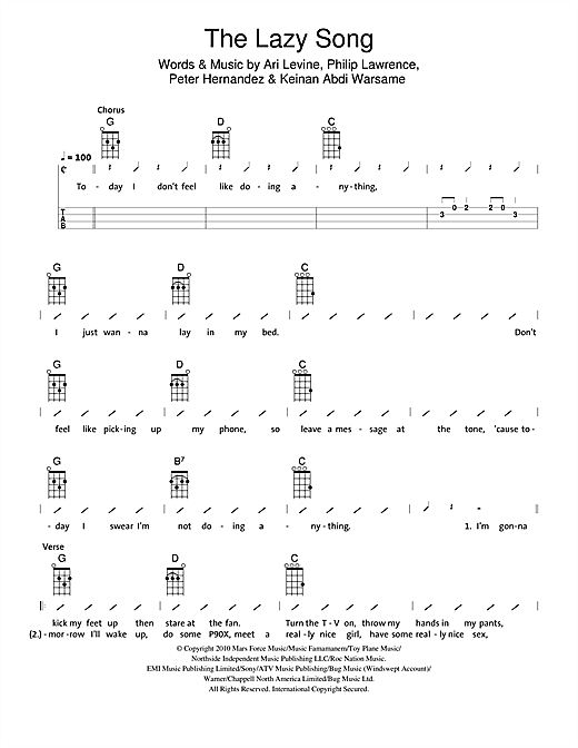 The Ukuleles The Lazy Song Sheet Music Notes Chords Printable
