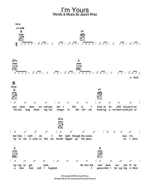 The Ukuleles Im Yours Sheet Music Notes Chords Printable Pop