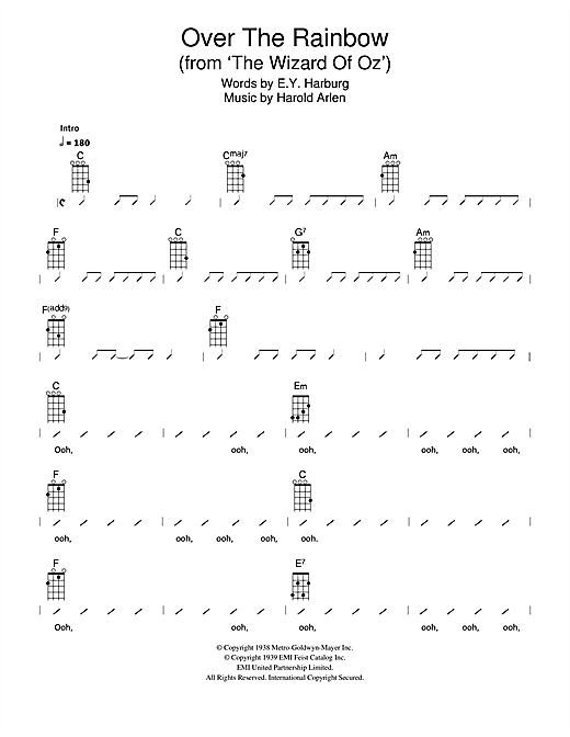 The Ukuleles Over The Rainbow From 'The Wizard Of Oz' Sheet Fascinating Somewhere Over The Rainbow Ukulele Strum Pattern