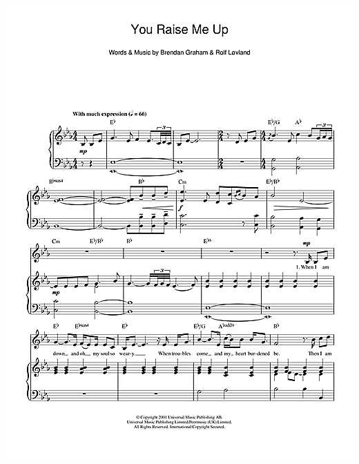 Josh Groban You Raise Me Up Sheet Music Notes Chords Printable