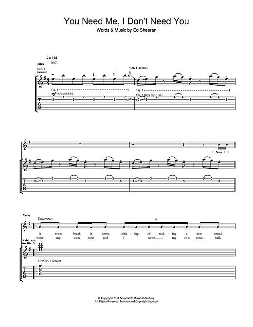 Ed Sheeran You Need Me I Dont Need You Sheet Music Notes Chords