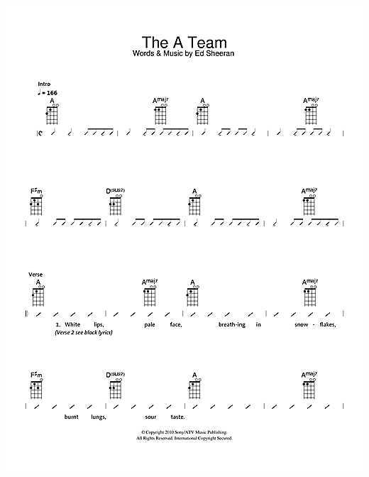 The Ukuleles The A Team Sheet Music Notes Chords Printable Pop