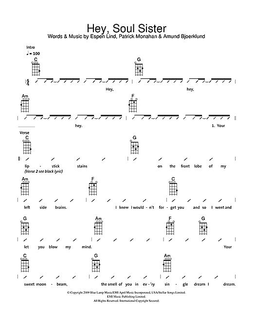 The Ukuleles Hey Soul Sister Sheet Music Notes Chords