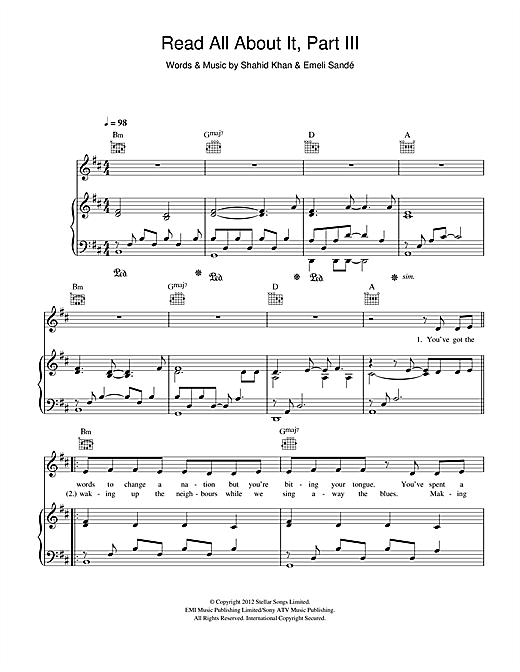Emeli Sand Read All About It Part Iii Sheet Music Notes Chords