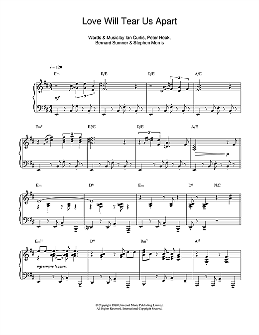 Joy Division Love Will Tear Us Apart Jazz Version Sheet Music