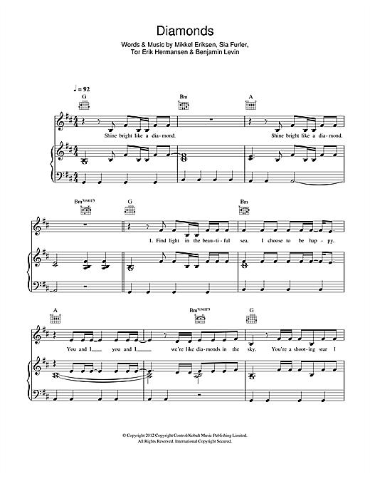 Diamond Rihanna Chords Piano Diamond Paradise