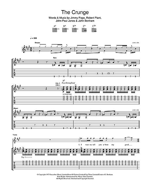 Led Zeppelin The Crunge Sheet Music Notes Chords Printable Rock