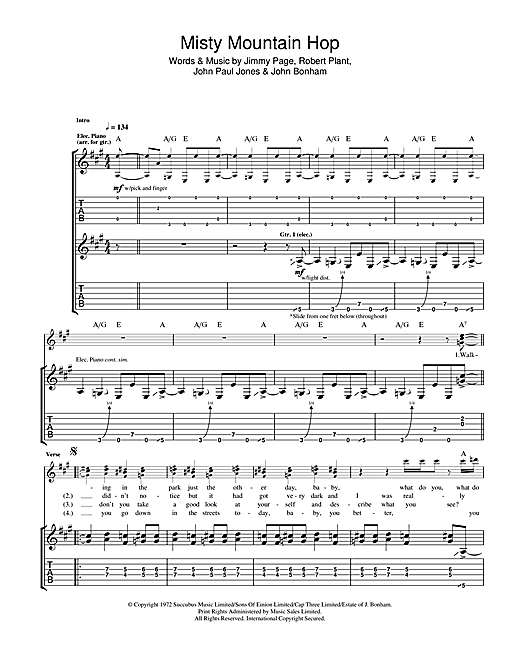Led Zeppelin 'Misty Mountain Hop' Sheet Music Notes, Chords | Download  Printable Guitar Tab - SKU: 115233