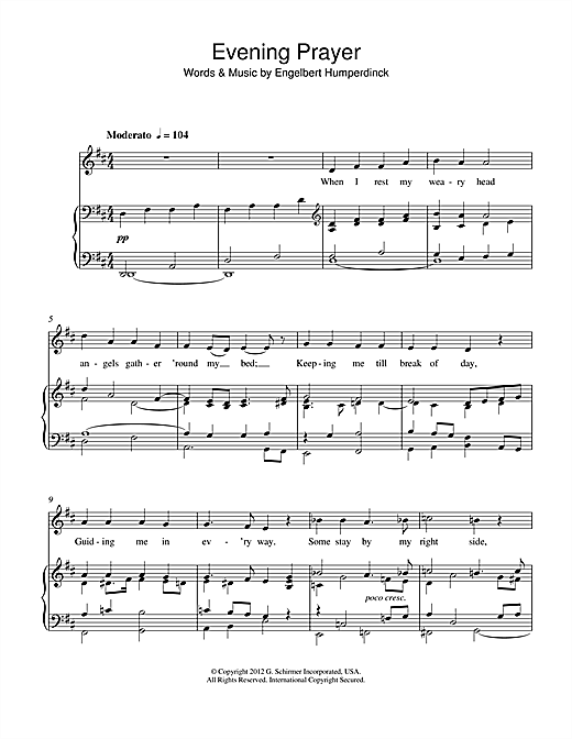 Engelbert Humperdinck (19th C) 'Evening Prayer' Sheet Music Notes, Chords    Download Printable Piano & Vocal - SKU: 115263