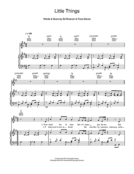 One Direction Little Things Sheet Music Notes Chords Printable
