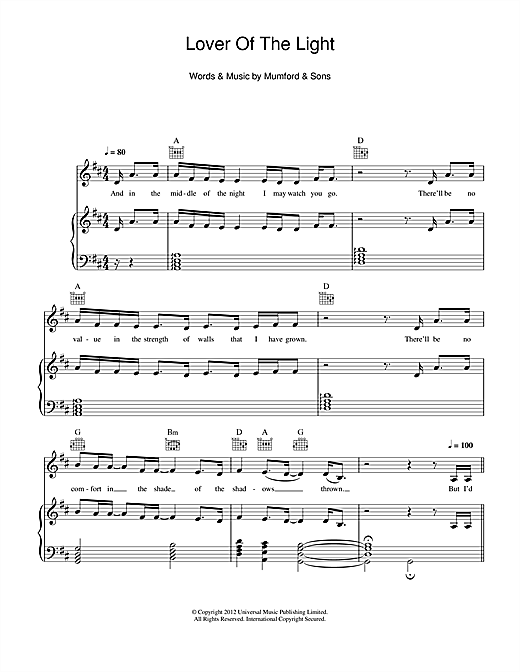 Mumford Sons Lover Of The Light Sheet Music Notes Chords