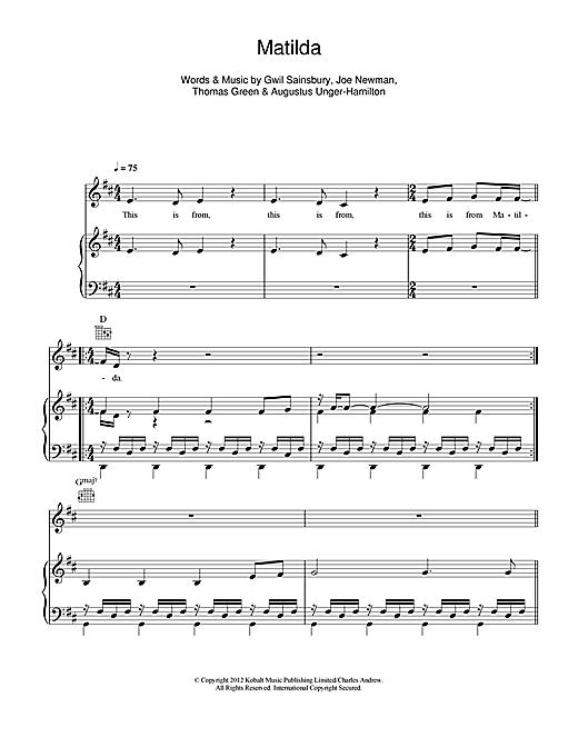Alt J Matilda Sheet Music Notes Chords Printable Pop Piano