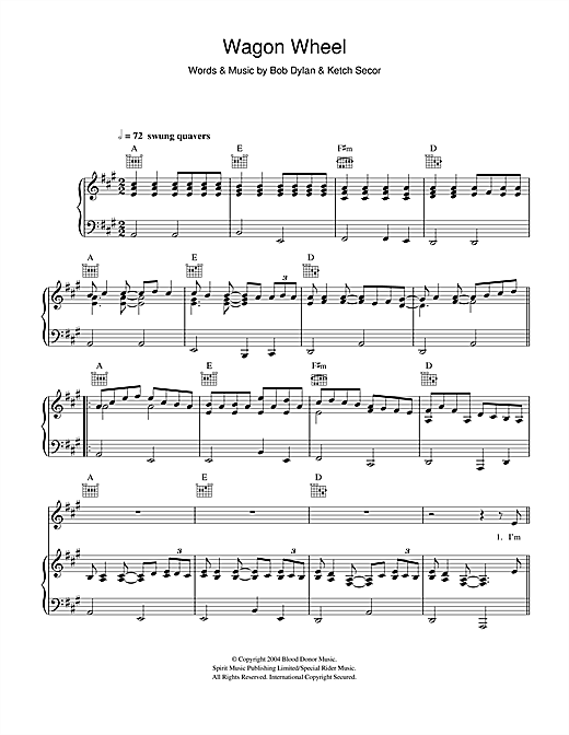 Old Crow Medicine Show 'Wagon Wheel' Sheet Music Notes, Chords | Download  Printable Piano, Vocal & Guitar (Right-Hand Melody) - SKU: 115425