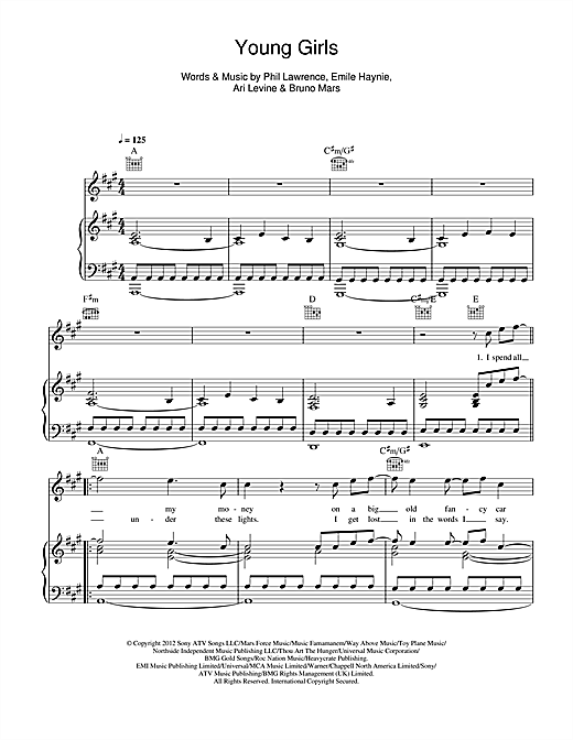 Bruno Mars Young Girls Sheet Music Notes Chords Printable Pop