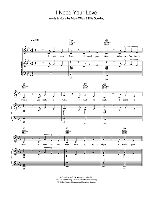 Calvin Harris I Need Your Love Feat Ellie Goulding Sheet Music