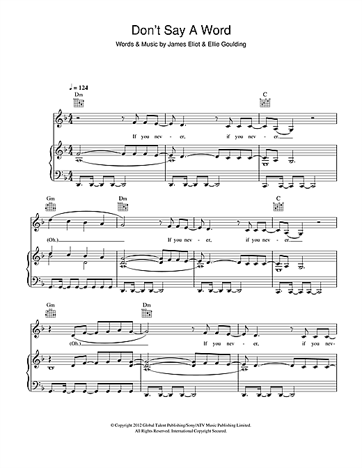 Ellie Goulding Dont Say A Word Sheet Music Notes Chords