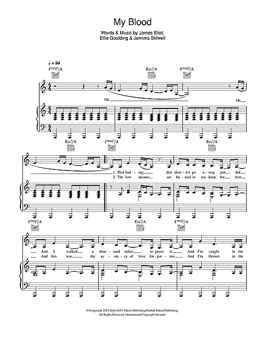 Ellie Goulding My Blood Sheet Music Notes Chords Printable