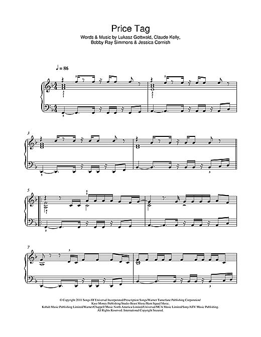 Jessie J Price Tag Sheet Music Notes Chords Printable Pop Piano