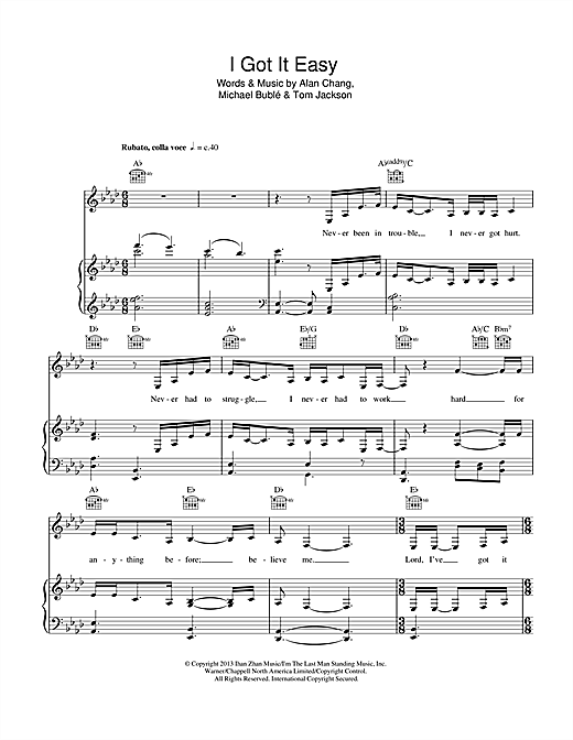 Michael Buble I Got It Easy Sheet Music Notes Chords Printable