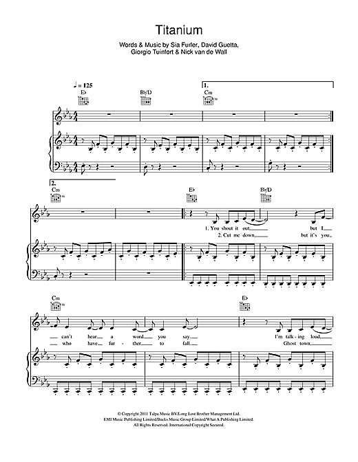 David Guetta Titanium Feat Sia Sheet Music Notes Chords