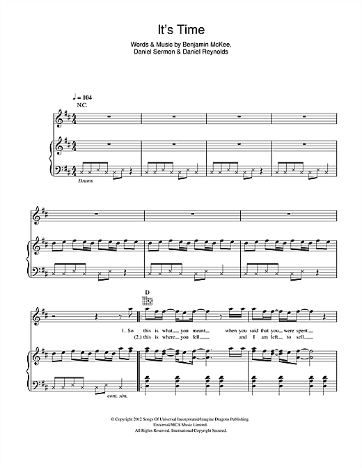 Imagine Dragons Its Time Sheet Music Notes Chords Printable