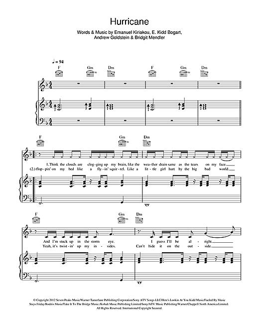 Bridgit Mendler Hurricane Sheet Music Notes Chords Printable