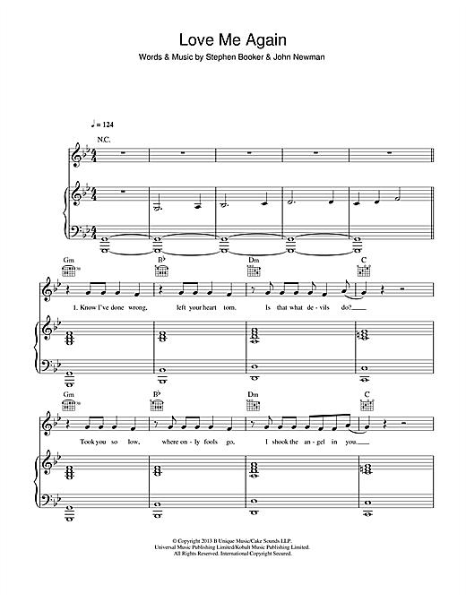 John Newman Love Me Again Sheet Music Notes Chords Printable