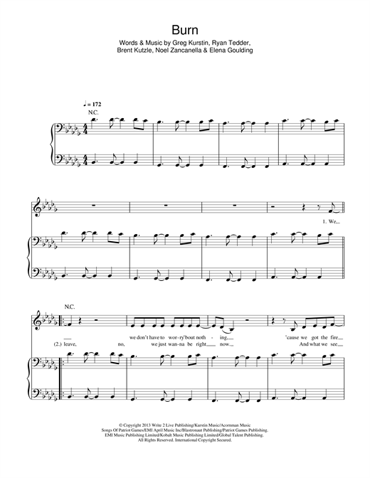 Ellie Goulding Burn Sheet Music Notes Chords Printable Dance