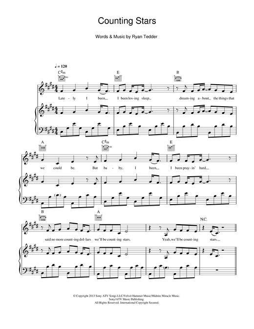 Onerepublic Counting Stars Sheet Music Notes Chords Printable