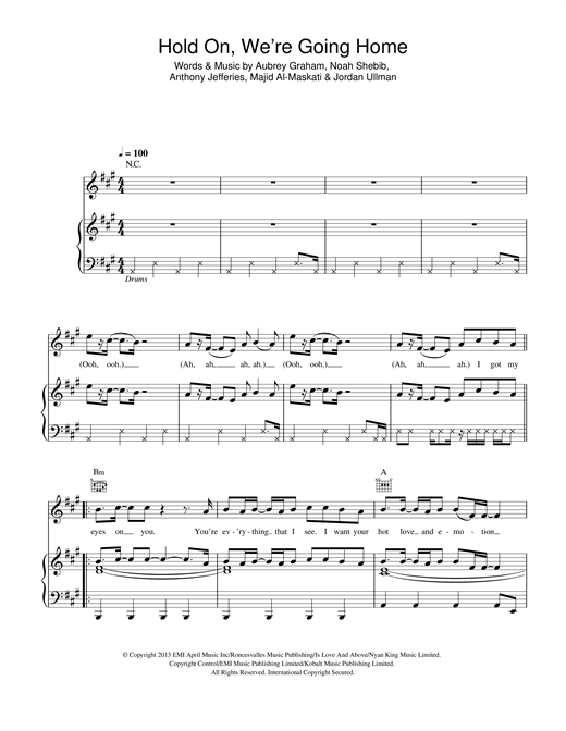 Drake Hold On Were Going Home Sheet Music Notes Chords