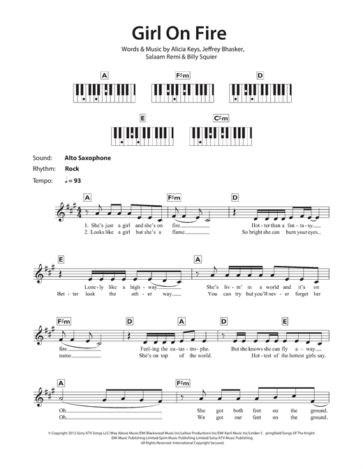 Alicia Keys Girl On Fire Sheet Music Notes Chords Printable R