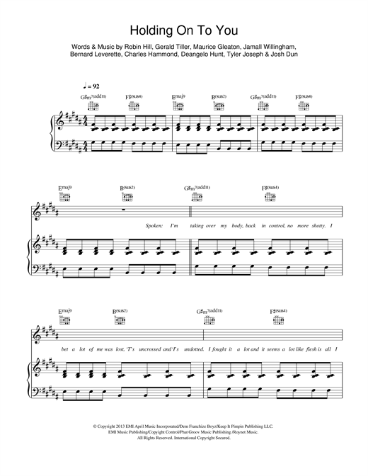 Twenty One Pilots Holding On To You Sheet Music Notes Chords