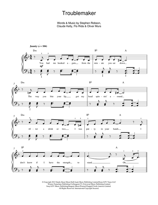 Olly Murs 'Troublemaker' Sheet Music Notes, Chords | Download Printable  Beginner Piano - SKU: 117000