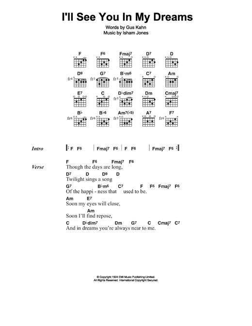 Joe Brown Ill See You In My Dreams Sheet Music Notes Chords